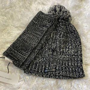 Rebecca Minkoff pom pom hat and knit arm warmers